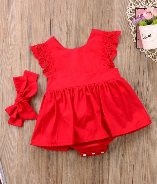 Red Christmas Ruffle Romper