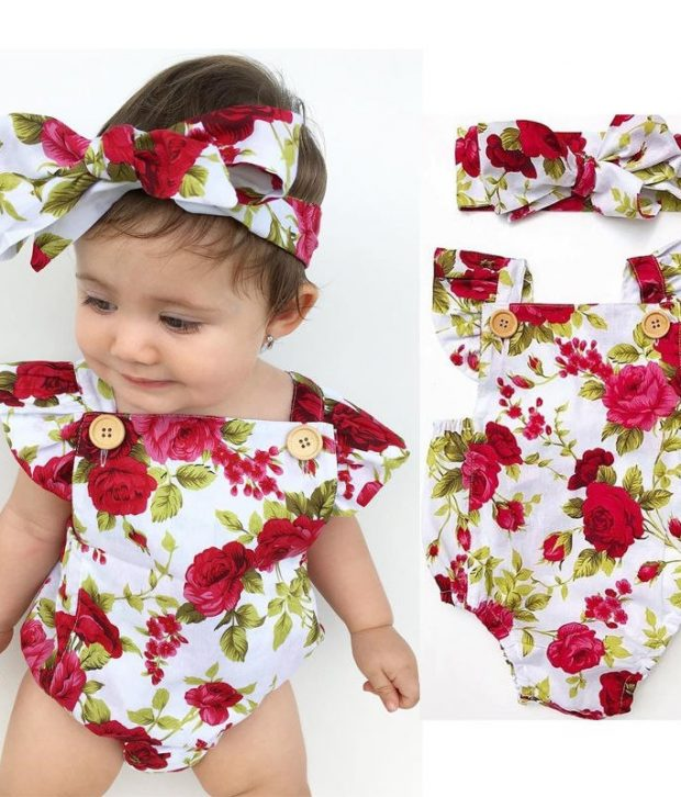 Red Rose Christmas Romper1