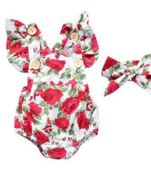 red roses christmas romper