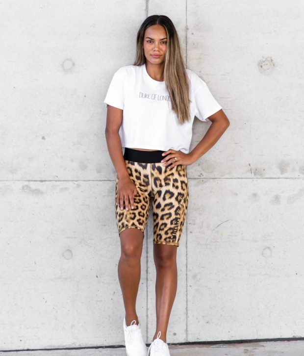 dol leopard tights and white tee
