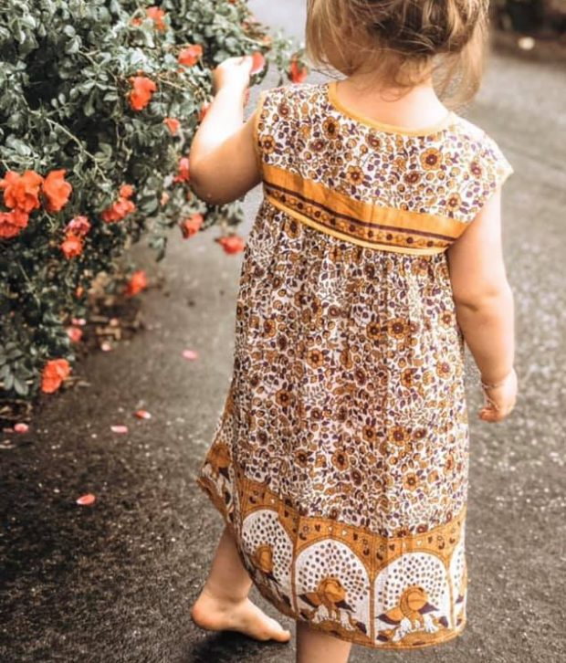 gypsy dress mustard girl back