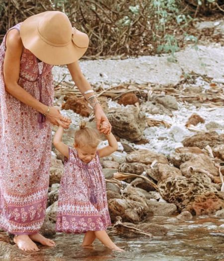 gypsy dress pink girl and mum