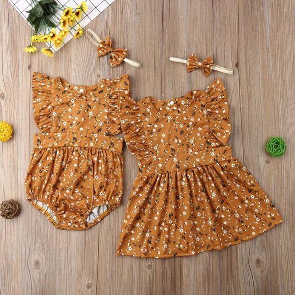 mustard romper and dress set