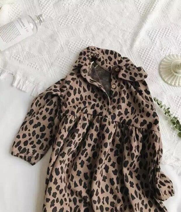 Dark Leopard Long Sleeve Dress