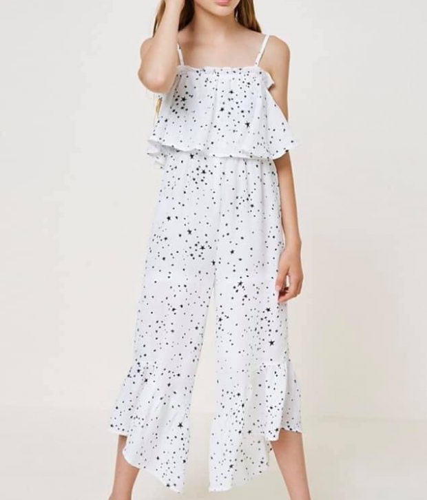 Starry White Jumpsuit - Tween Range