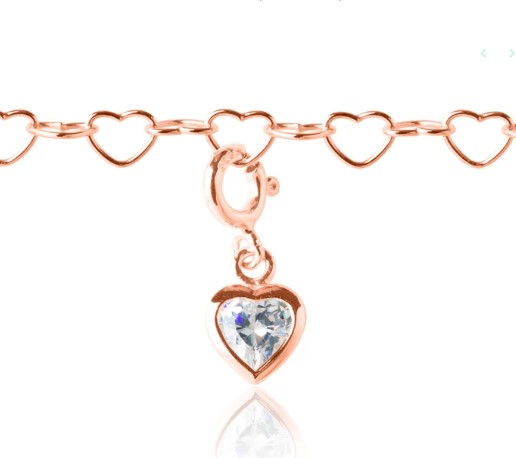 My Little Silver Sparkle Heart Charm - Rose Gold Vermeil
