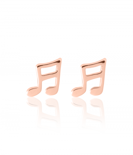 My Little Silver - Musical Note Earrings - Rose Gold Vermeil