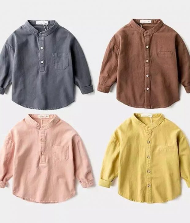Long Sleeve Button Up Brown/Pink/Yellow/Blue