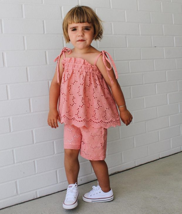 Shorts Set Tie Shoulder Pink Shorts