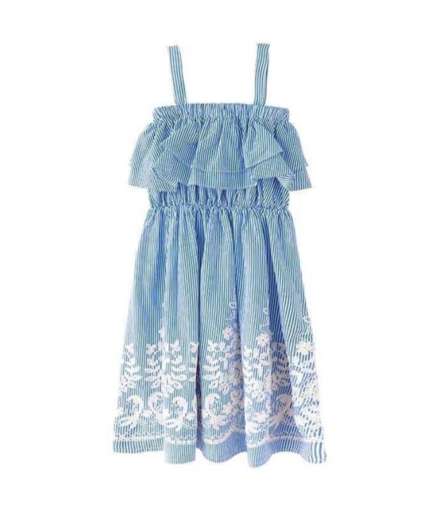 Chloe tween dress blue stripe
