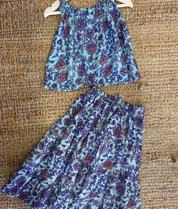 Sweet Child of Mine Flamenco Skirt Jardin Blue