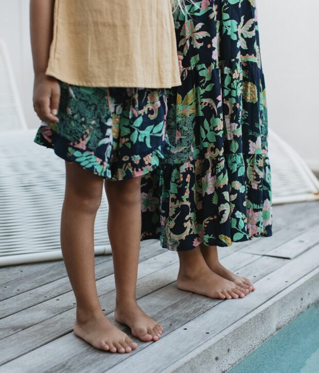 Sweet Child of Mine Flamenco Skirt Flora Navy