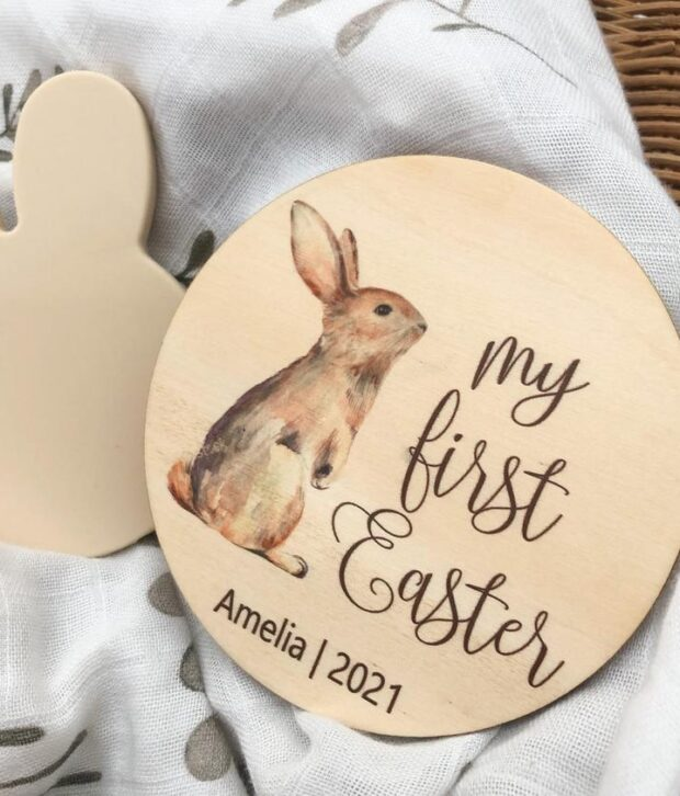 One Chew Three My First Easter Milestone Plaque Timber Colour Print
