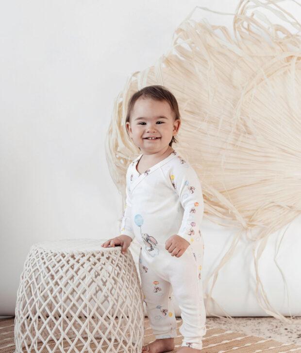 Indigo & Lellow Balloon Bunny L/S Kimono Romper