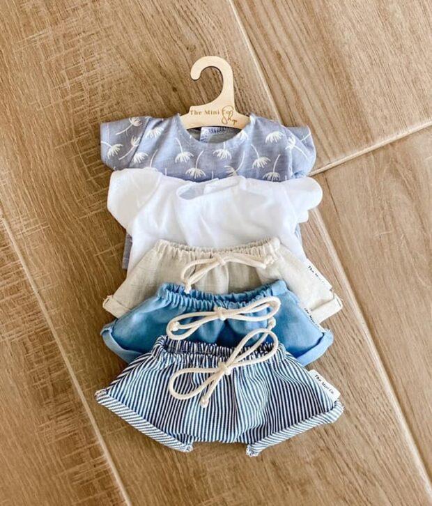 Miniland, Minikane, Paola Reina Doll Clothes – Shorts - Denim or Stripes