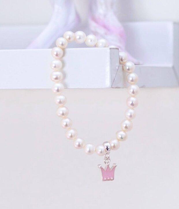 Lauren Hinkley - Freshwater Pearl Crown Bracelet - Pink Silver