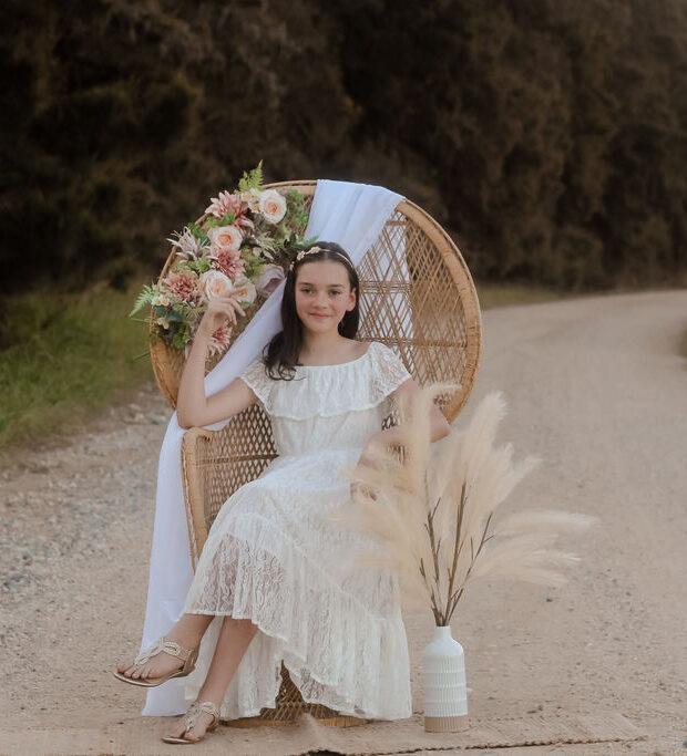 Little Lacey AUBRIE Boho Flower Girls Dress | White