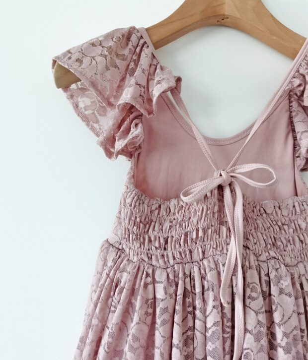 Little Lacey Delilah Girls Dusty Pink Lace Dress
