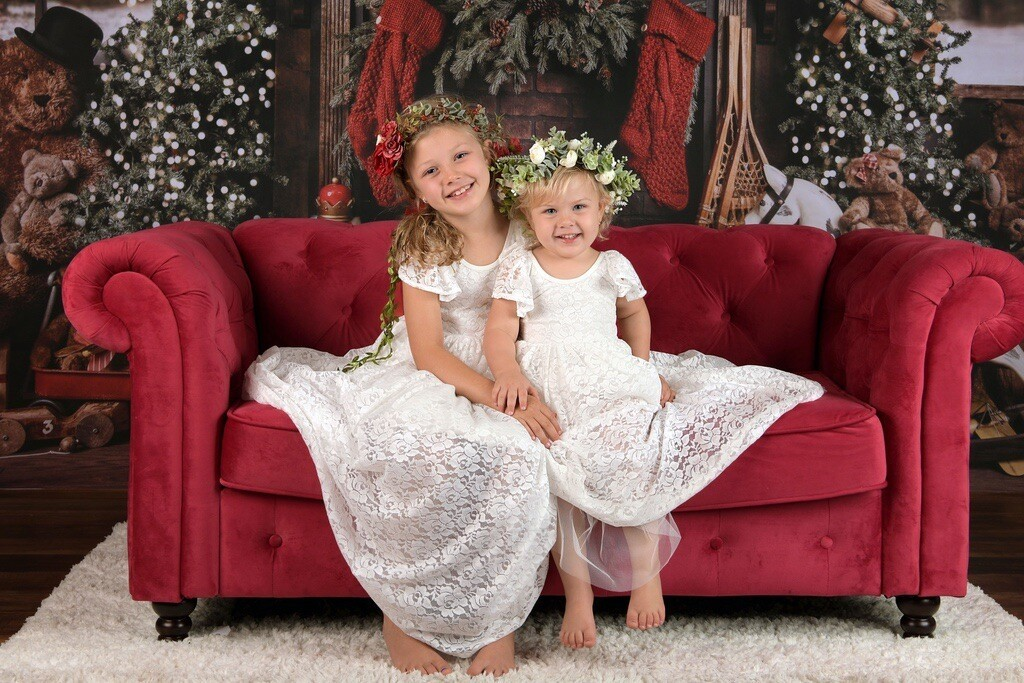 Little Lacey Delilah Girls White Lace Dress