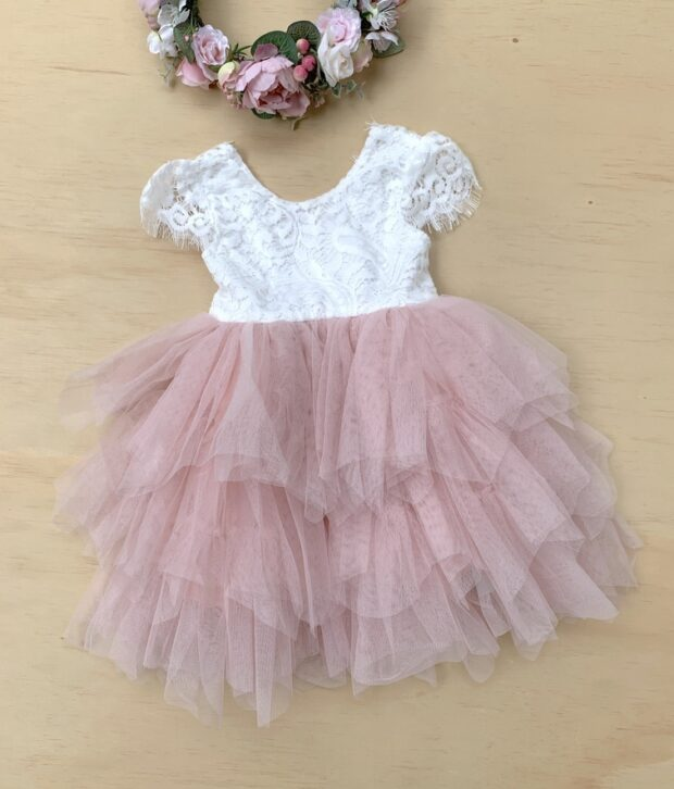Little Lacey Felicity Girls Lace Capped Sleeve Dress white / pink