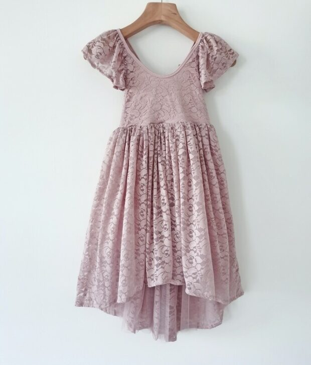 A Little Lacey Delilah Dusty Pink Lace Dress