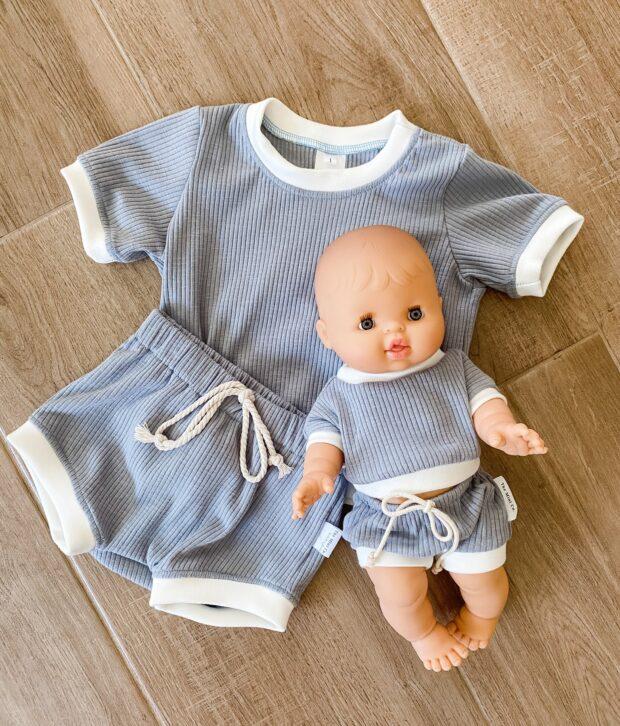 Dusty Blue Ribbed Set - Dolls